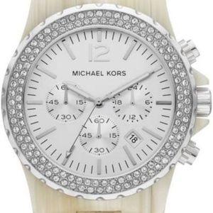 Micheal Kors Horn Resin Steel Chrono Cream Watch
